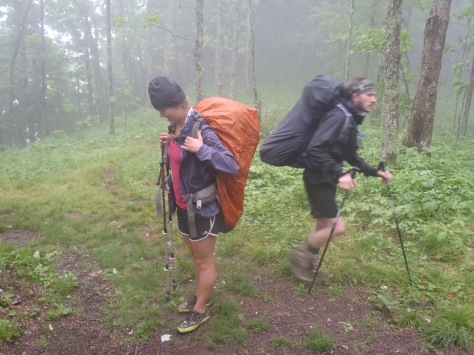Lindsay and George hiking in the rain, good friends make the bad days better.