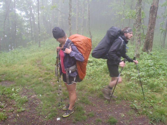 Lindsay and George hiking in the rain on the way to Damascus, VA.