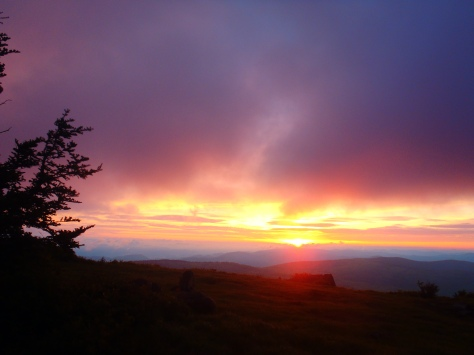 Sunrise on the Grayson Highlands, sometimes you just have to love the trail.