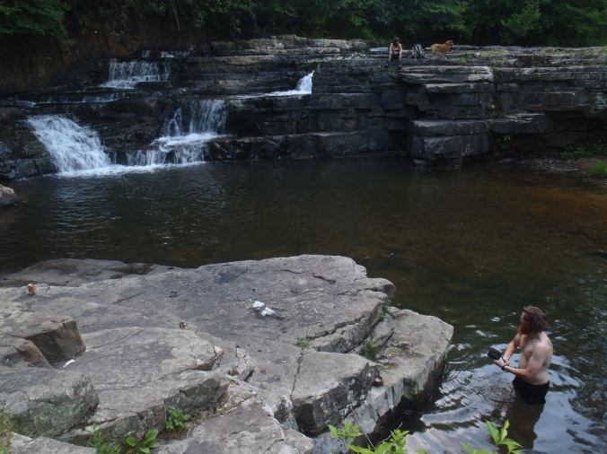 Doing some rinsing off, clothes and person after a long day of hiking at Dismal Falls