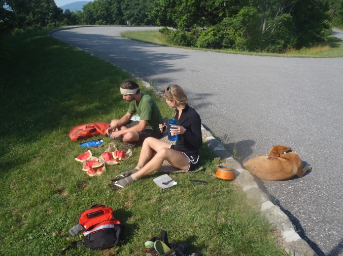 Lindsay and Gully eating some trail-magic watermelon. Hooray!