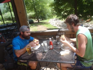 Turtle and Bullfrog getting down on some Devil's Backbone Brewery burgers