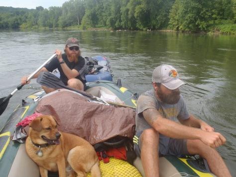 """Clay, """"Bullfrog"""" and Hunter paddling down the Shenandoah River."""