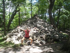 Lindsay with a giant pile of evil PA rocks!