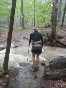 "Lindsay fording some high water after about 5"" of rain in Massachusetts."