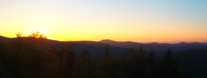Sunset from the cabin on the northern section of the Vermont Appalachian Trail