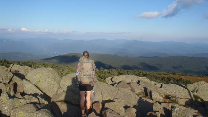 Lindsay looking north from one of the two Kinsman peaks