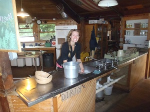 Lindsay getting down on some dishes in a little work-for-food in New Hampshire!