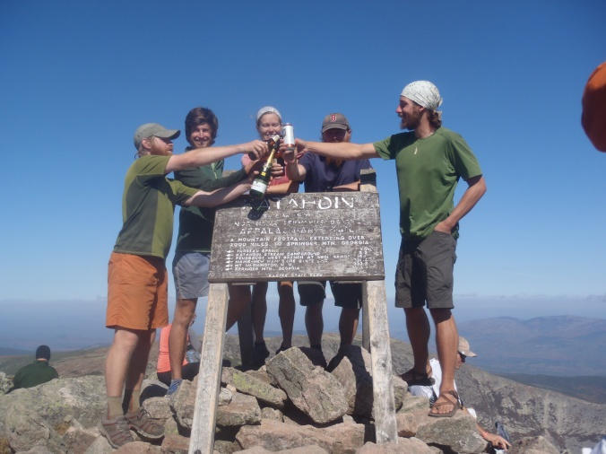 Sunshine, Turtle, Lindsay, Fern Gully and I at the top of Mt Katahdin on September 27th, 2014