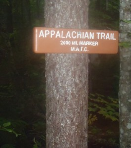 "The ""Official"" 2,000mi marker on the Appalachian Trail"