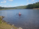 Paddling across the Kennebec River!
