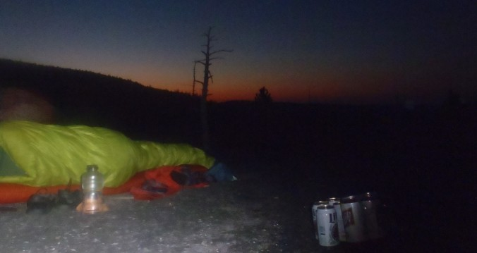 Waking up to a sunrise that silhouetted our final challenge: Mt Katahdin