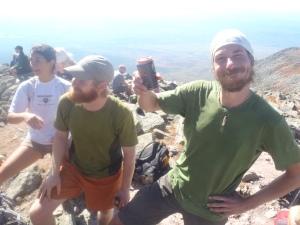 Fern Gully enjoying a celebratory beer on the summit