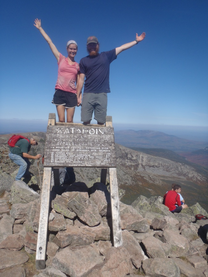 Clay and Lindsay at the top of Mt Katahdin, the northern terminus of the Appalachian Trail