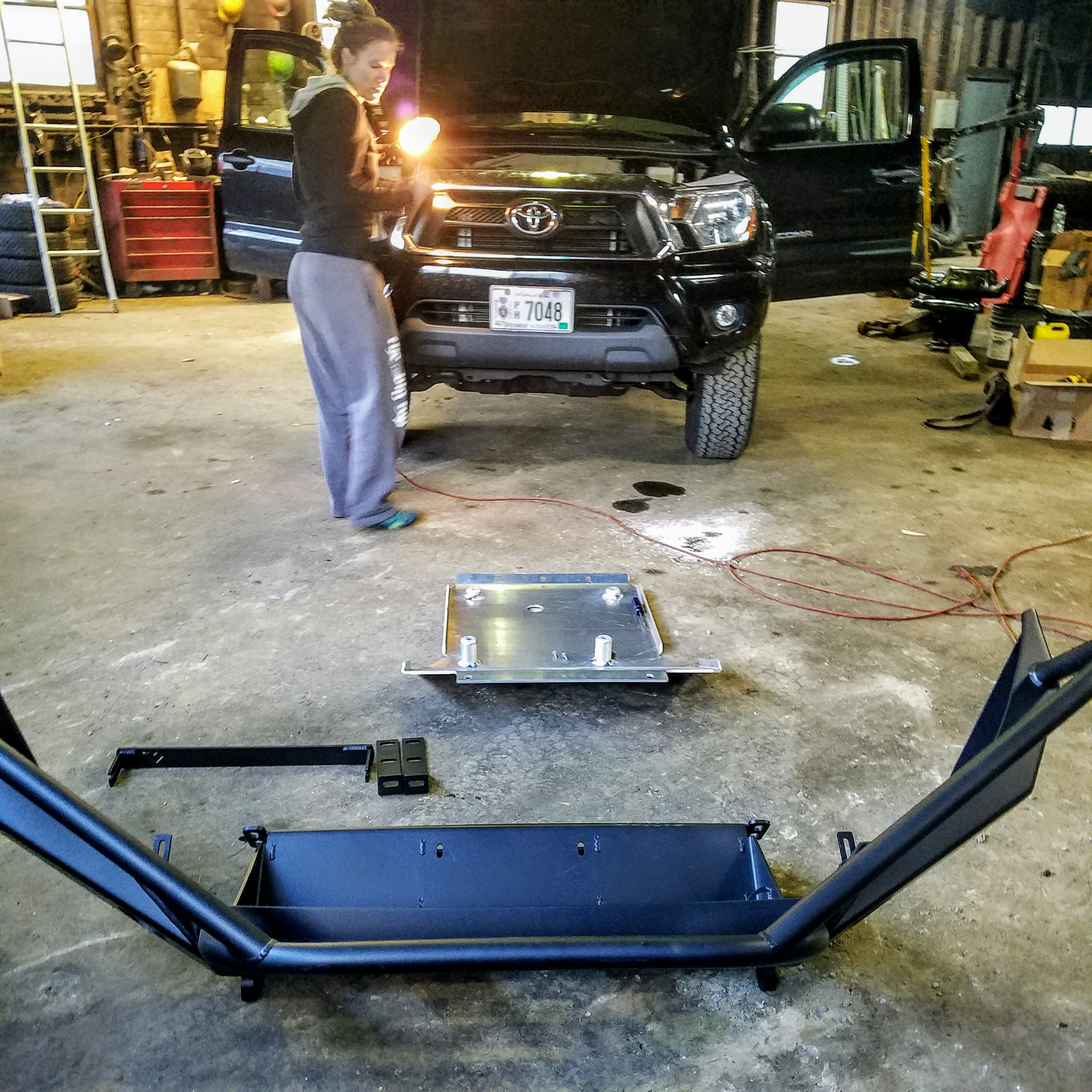 expedition overland truck build skid plate installation